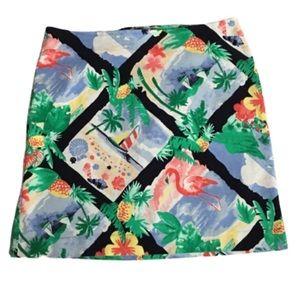 Talbots Paradise Flamingo Beachy Pencil Skirt 12P